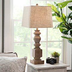 Livy Distressed Woodtone Table Lamp