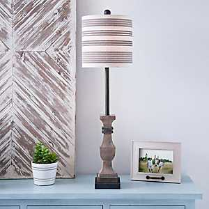 Allison Black and Brown Striped Shade Buffet Lamp