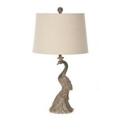 Dusty Teal Peacock Table Lamp