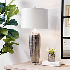 Silver Metallic Ceramic Table Lamp