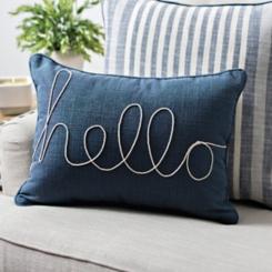 Dynasty Hello Denim Accent Pillow