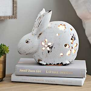 Floral Cut White Rabbit Night Light