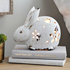 Floral Cut White Rabbit Night Light