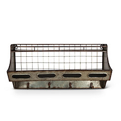Galvanized Metal Wall Shelf with Hooks