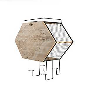 Honeycomb Wood and Metal Wall Bar