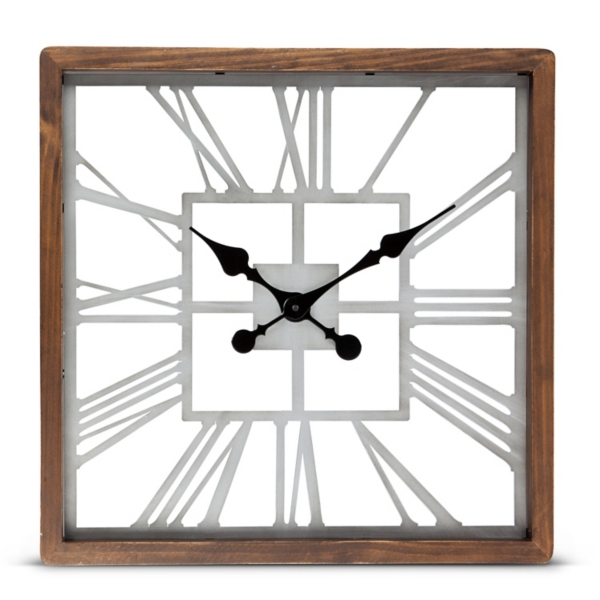 square metal and wood wall clock