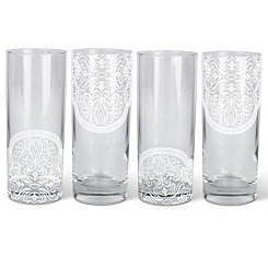 Moroccan Bee Highball Glasses, Set of 4