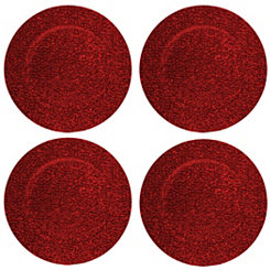 Red Glitter Charger Plates, Set of 4