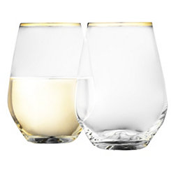 Cellini Gold Stemless Wine Glasses, Set of 4