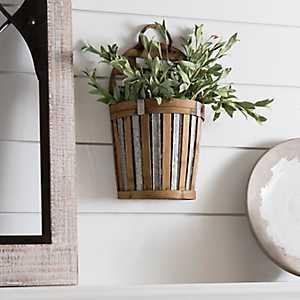 Bamboo and Metal Woven Wall Pocket