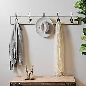 Weathered White Wood Hooks Wall Plaque