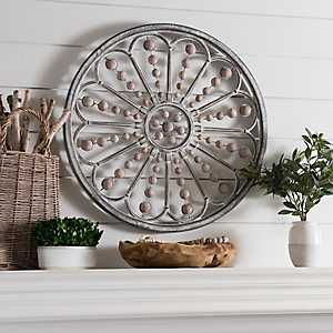 Galvanized Burst with Wood Beads Wall Plaque
