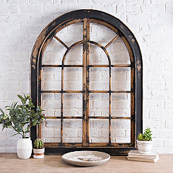 Black Distressed Salvaged Arch Plaque