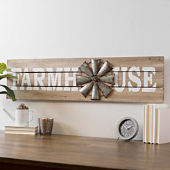 Farmhouse with Windmill Wood Plank Wall Plaque
