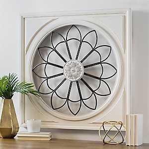 White Framed Rosette Burst Wall Plaque