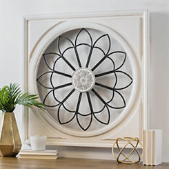 White Framed Rosette Burst Wall Plaque