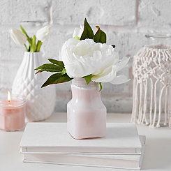 White Peony in Pink Bottle, 9 in.