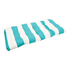 Teal and White Striped Settee Cushion