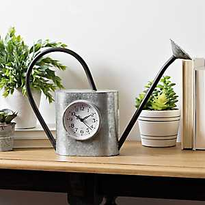 Galvanized Watering Can Tabletop Clock