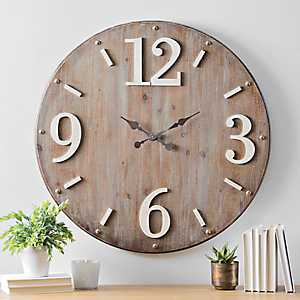 Hadden Wood with White Accents Wall Clock