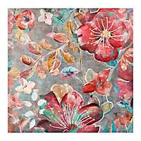 Bright Floral on Gray Canvas Art Print