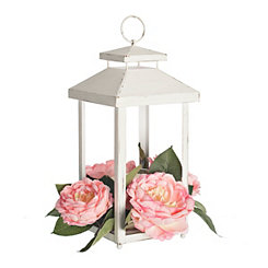 Metal White Wash Lantern with Floral Accent