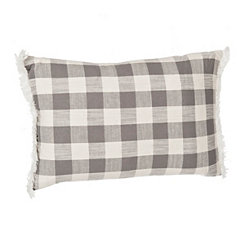 Gray Buffalo Check Accent Pillow with Fringe