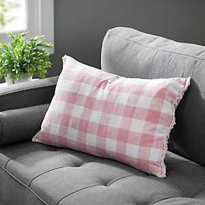Pink Linen Buffalo Check Pillow