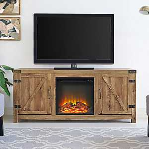 Barnwood Barn Doors Fireplace Media Cabinet