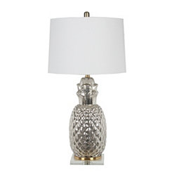 Silver Glass Pineapple Table Lamp