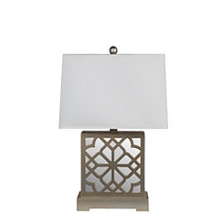 Beige Mirrored Wooden Table Lamp