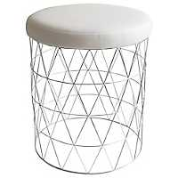 Geometric Chrome Vanity Stool
