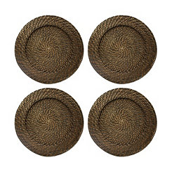 Brick Brown Round Rattan Chargers, Set of 4