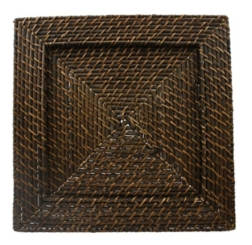 Brick Brown Square Rattan Chargers, Set of 4