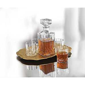 Whiskey Decanter and Gold Tray 6-pc. Set