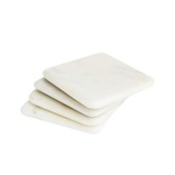White Marble Coasters, Set of 4