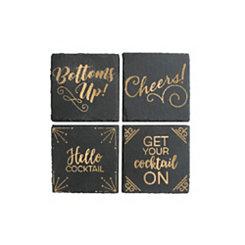 Gold Cheers Slate Coasters, Set of 4