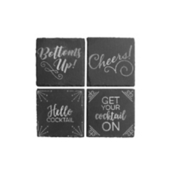 Silver Cheers Slate Coasters, Set of 4