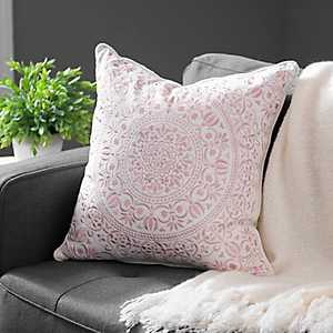 Blush Embroidered Medallion Pillow