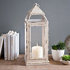 Carly Cream Distressed Metal Lantern