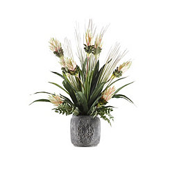 Pink Bromeliad Arrangement in Gray Planter