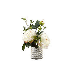 White Peony Arrangement in Gold Mercury Glass Vase