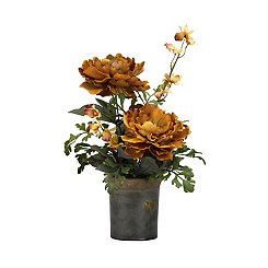 Brown Peony Arrangement in Rustic Planter