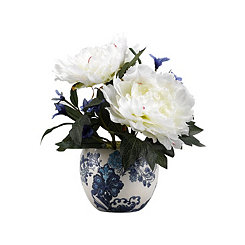 Cream Peony Arrangement in Blue and White Planter
