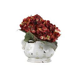 Red Hydrangea Arrangement in Ceramic Planter