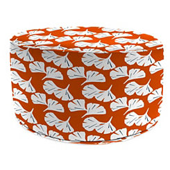 Ginko Orange Round Outdoor Pouf