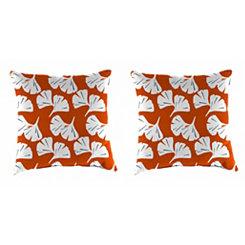 Ginko Orange Outdoor Pillows, Set of 2