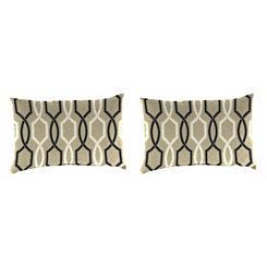 Cestina Tuxedo Outdoor Accent Pillows, Set of 2
