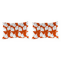 Ginko Orange Outdoor Accent Pillows, Set of 2