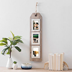 3-Opening Hanging Wood Wall Tag Collage Frame